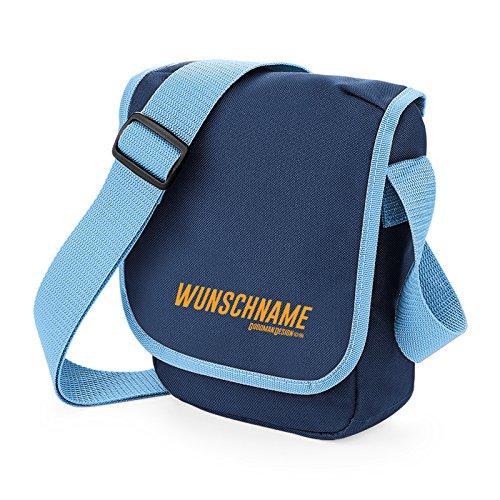 Retro Satchel Messenger Bag/ Umhängetasche/ mit ihrem persönlichen Namen - Farbe: Navy-Blau - Goodman Design ® xVNuIx5