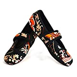 Nufoot Betsy Lou Women's Shoes, Best Foldable & Flexible Flats, Slipper Socks, Travel Slippers & Exercise Shoes, Dance Shoes, Yoga Socks, House Shoes, Indoor Slippers, Gold Baroque, Medium