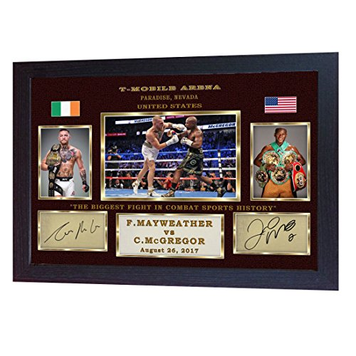 S&E DESING Conor McGregor Floyd Mayweather Jr Las Vegas signed autograph photo print Framed