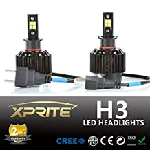 Xprite All-in-One H3 LED Headlight Conversion Kit - 80W 7200LM Cree LED - Replaces Halogen and HID Bulbs (Original Temperature Cover Kit)