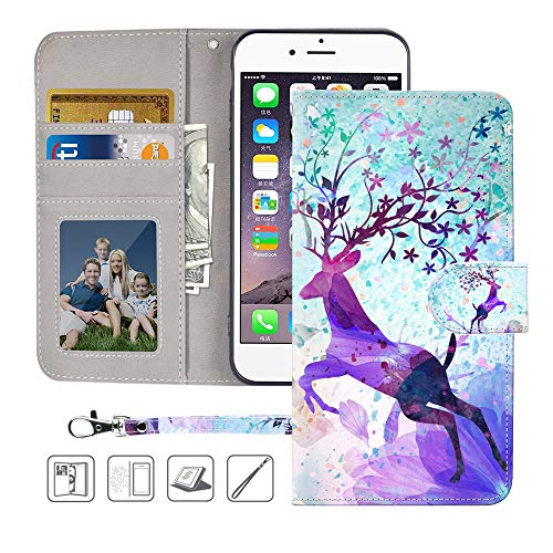 iPhone 6S Wallet Case,iPhone 6 Wallet Case,MagicSky Premium PU Leather Flip Folio Case Cover with Wrist Strap, Card Holder,Cash Pocket,Kickstand for Apple iPhone 6/6S 4.7 inch(Colorful Deer) (Colorful Iphone 6plus Cases)