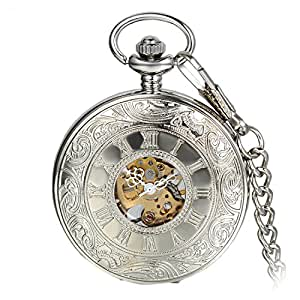 Avaner Reloj de Bolsillo Steampunk Vintage Reloj Mecanico Hueco Transparente de Números Romanos, Reloj Cazador Plateado Floral Grabado, Buen