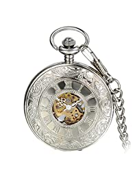 Avaner Silver Steampunk Antique Skeleton Roman Number Half Hunter Case Hand Wind Mechanical Pocket Watch Necklace