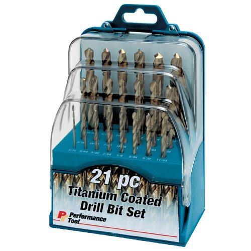 Performance Tool W9016 21-Piece Titanium Coated High Speed Drill Bit (Titanium Ratchet)
