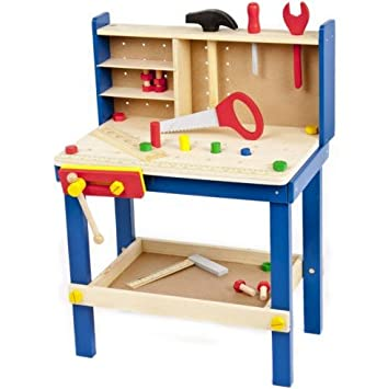 Great Gift For Kids Wooden Work Tool Bench Kitchen Set Pretend