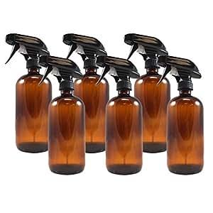 16oz Amber Glass Boston Round Spray Bottles (6 Pack), W/ Heavy Duty Mist and Stream Sprayers