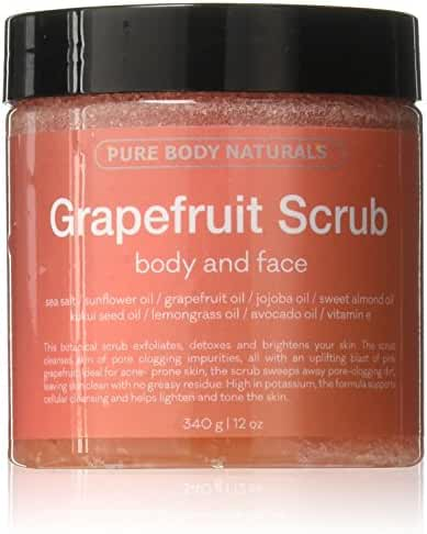 Pure Body Naturals Grapefruit Body & Face Scrub with Sea Salt and Essential Oils , 12 Oz