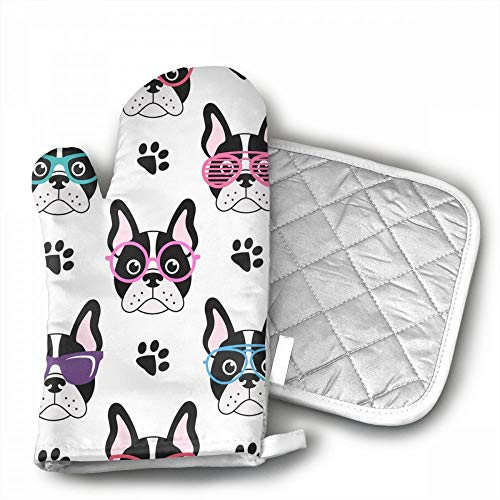 Pattern With French Bulldogs Oven Mitts,Professional Heat Re