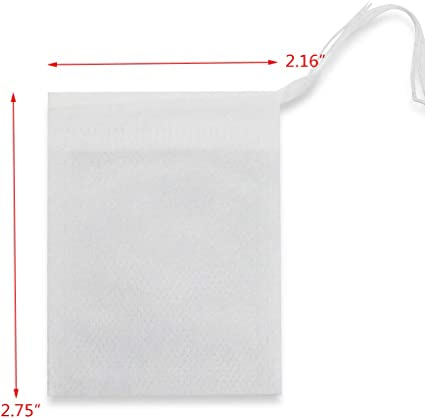 WFPLUS 200pcs Disposable Filter Bags White 2.16 x 2.75 inch Empty Cotton Drawstring Tea Infuser for Loose Leaf Teal