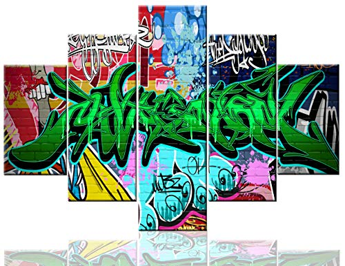 Modern Wall Decorations for Living Room Graffiti Wall Art Colorful Pictures Music Paintings 5 Panel Canvas Artwork Contemporary Home Decor Giclee Framed Gallery wrapped Ready To Hang(60''Wx40''H)
