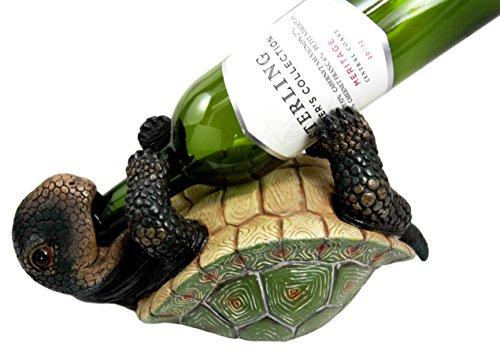 (Ebros Drunken Coastal Sea Turtle Tortoise Wine Bottle Holder Caddy Figurine As Home Kitchen Wine Cellar Decorative Storage Organizer Solution of Wild Aquatic Animals Turtles Terrapins Tortoises Decor )