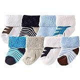 Luvable Friends Unisex 8 Pack Newborn Socks, Blue Shoes, 0-6 Months