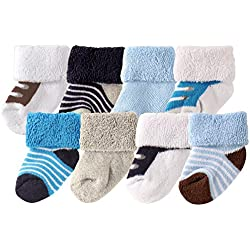 Luvable Friends Baby 8 Pack Newborn Socks, Blue Shoes, 0-6 Months