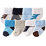 Luvable Friends Unisex 8 Pack Newborn Socks, Blue Shoes, 0-6 Months