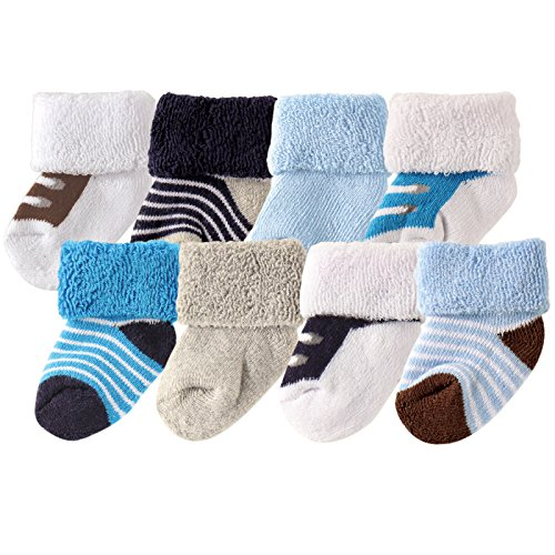 luvable-friends-unisex-8-pack-newborn-socks-blue-shoes-0-6-months