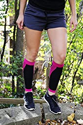 Shin Splint Compression Sleeves By Run Forever Sports - Health & Fitness Accessories for Men & Women - Ideal for Running, Cycling, Nurses, Maternity & More (Pink, Large)