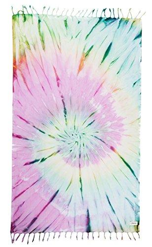 Bersuse 100% Cotton Trinidad Tie Dye Turkish Towel, 38X64 Inches, Colorful