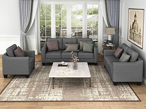 STARTO 3 Piece Sectional Sofa Living Room Furniture Set Include Armchair Loveseat Couch Tufted Cushions for Home or Office, Dark Gray