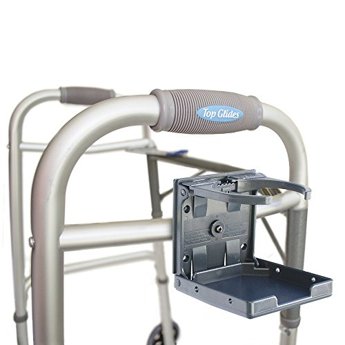 Universal Folding Walker/Wheelchair/Rollator Cup Holder (Gray) (Scooter Holder Walker)
