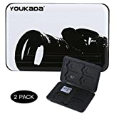 YOUKaDa Metal Memory Card Case Holder Water-Resistant Pocket-Sized SD Holder for 8 SD Cards & 8 Micro SD Cards (2 Pack-Camera)