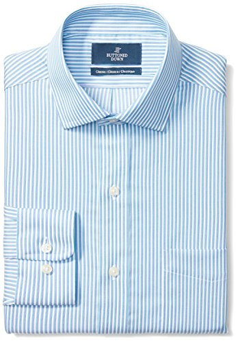 Mens Classic Shirt Stripe (BUTTONED DOWN Men's Classic Fit Spread-Collar Pattern Non-Iron Dress Shirt, Blue/Teal Stripe, 17