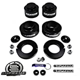 """Supreme Suspensions - Chevy Trailblazer GMC Envoy Full 2"""" Front CNC Machined Spacers + 2"""" Rear Billet Spacers (Black) Suspension Leveling Lift Kit 4x2 4x4 PRO"""