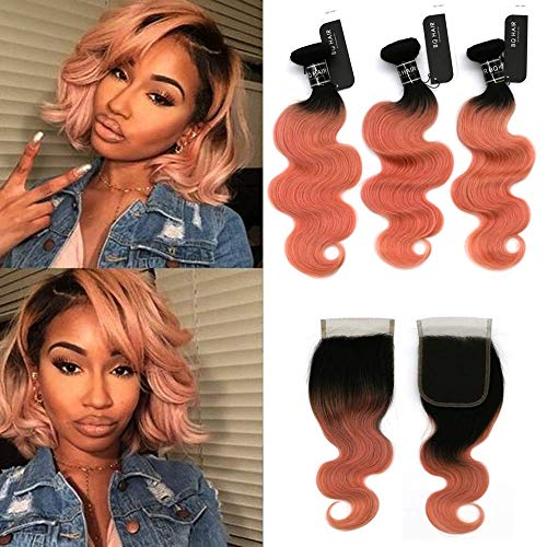 BQ HAIR 3 Bundles With 4x4 Free Part Lace Closure 1B/ Dark Root Rose Gold 100% Unprocessed Brazilian Virgin Human Hair Weave 2 Tone Ombre Body Wave (8