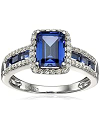 Sterling Silver Created Ceylon Sapphire and 0.25 cttw Diamond Cushion Ring, Size 7