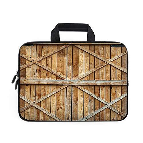 Funda de neopreno rústica para portátil con diseño de madera de pino con ventana de control y diseño de madera natural,...