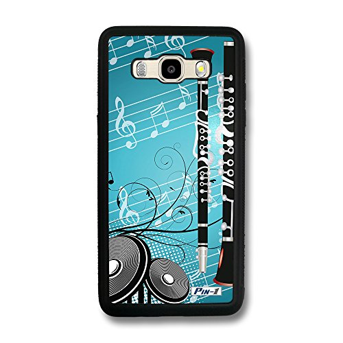 - Pin-1 Snap-on Hard Case with Black TPU Bumper for [Samsung Galaxy J5 (2016) / J510] - musical instrument design clarinet DSE0307
