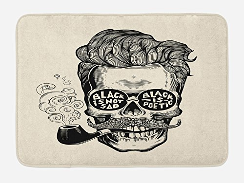 Indie Bath Mat by Ambesonne, Hipster Gentleman Skull with Mustache Pipe and Eyeglasses with Inscription Vintage, Plush Bathroom Decor Mat with Non Slip Backing, 29.5 W X 17.5 W Inches, Black Cream