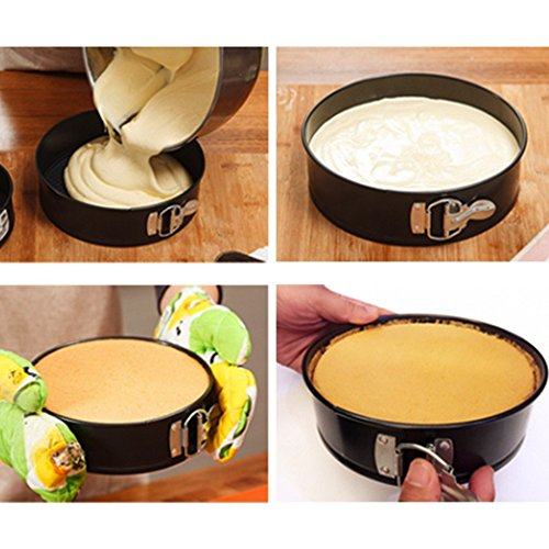 WARM MAISON Nonstick Springform Pan Set Leakproof 10.5inch Square 10 inch Round 9 inch Heart Baking Pie Cheese Cake Molds Pan Set with Quick Release Latch and Removable Bottom by WARM MAISON (Image #2)