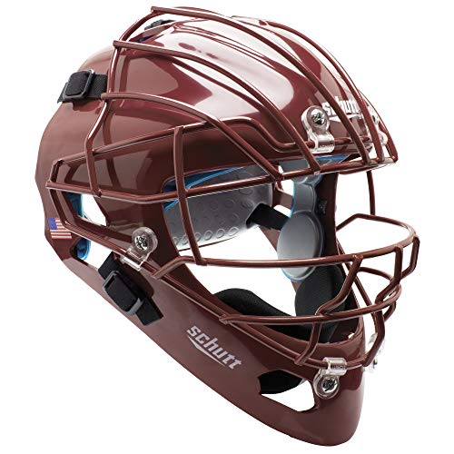 Schutt AiR MAXX Hockey-Style Catcher's Helmet with Facemask, Cardinal, Extended OS Cage Face Mask
