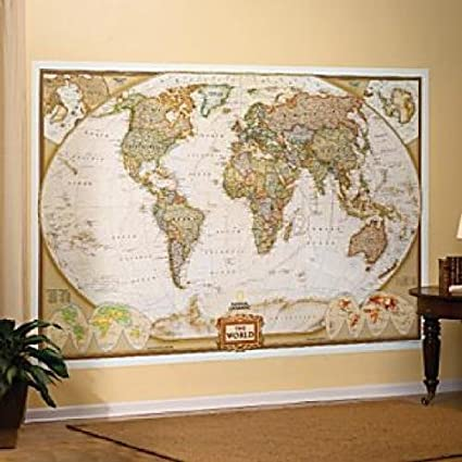 Amazon mural world map map type executive wall murals mural world map map type executive gumiabroncs Images