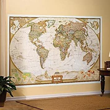 Amazon com mural world map map type executive wall murals office products