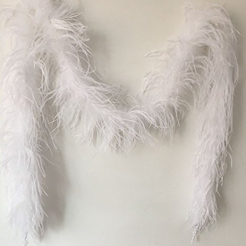 Sowder 72inch Length 1ply Ostrich Feather Boa for Wedding/party Decoration, Feather Scraf(white)