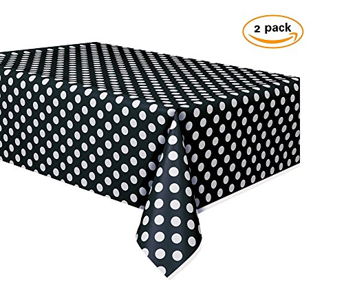 oocc 2 Pcs Disposable Table Cover Polka Dots Plastic Tablecloth Thickened Rectangle Tablecover for Kitchen Picnic Wedding Birthday Party Baby Shower Catering Events, 54