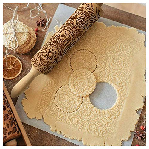 Christmas Embossing Rolling Pin Baking Cookies Biscuit Fondant Cake Dough Engraved Roller Reindeer Snowflake - Christmas Wooden Rolling Pins