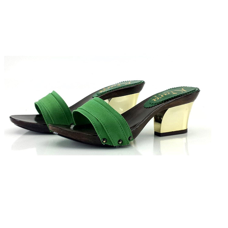 kiara shoes Zueco Verde Comfort Talón 7 cm-K28201 Verde 37 EU