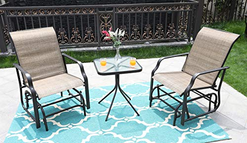 MF STUDIO 3 Piece Patio Swing Glider Bench Outdoor Swing Rocker Chair Bistro Set with 2 Rocking Chairs & 1 Table, Brown (2 Chairs + 1 Table)