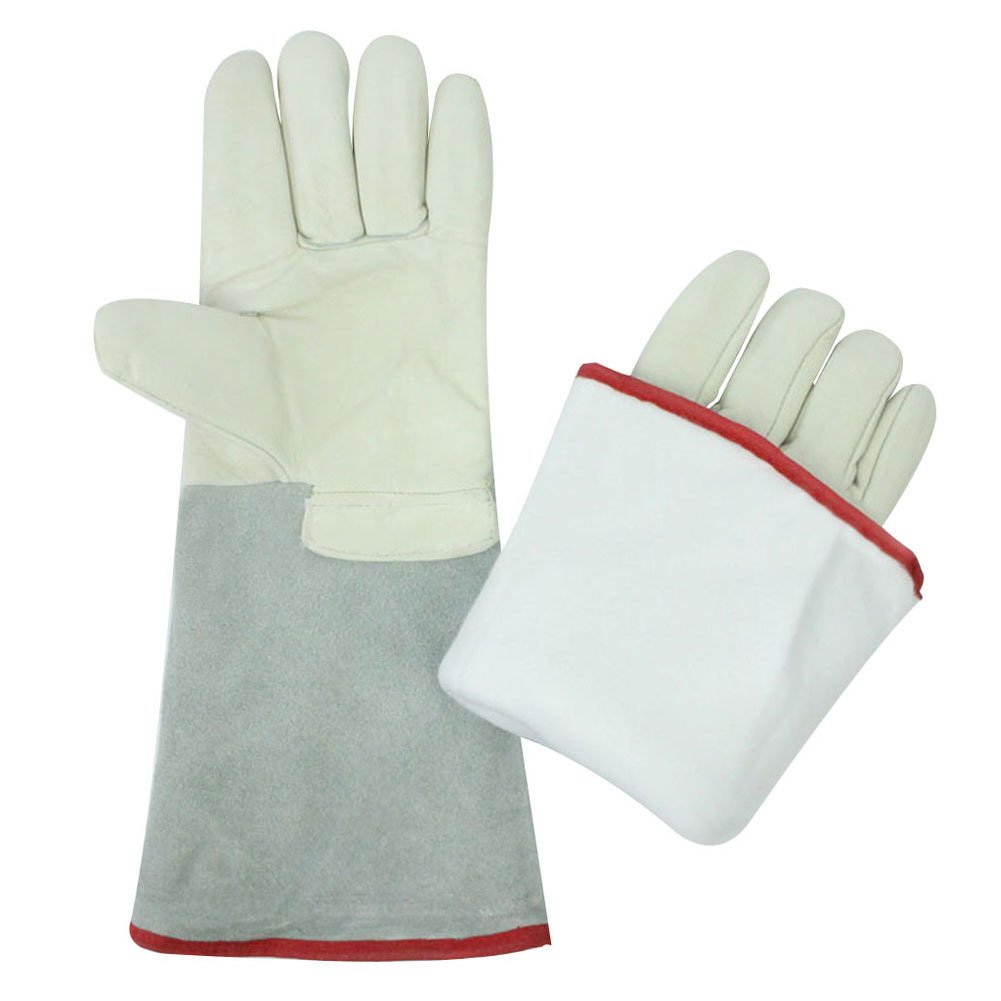 Rely2016 Waterproof Liquid Nitrogen Protective Cowhide Gloves Low Temperature Resistance Cryogenic Work Gloves (36cm/13.8'')