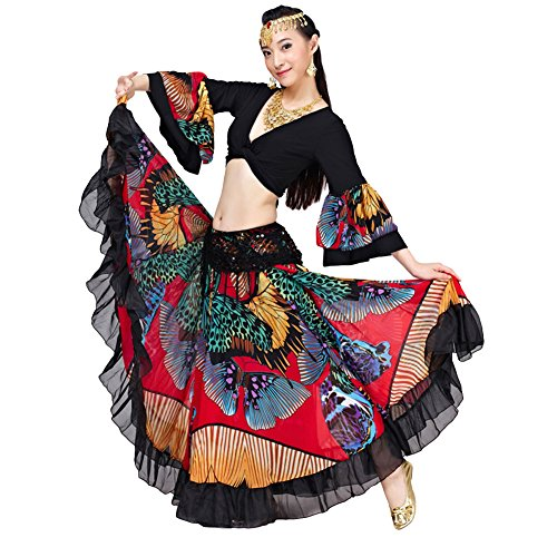 Gypsy Costume For Women (AvaCostume Women's Gypsy Belly Dance Costumes Horn Sleeve Tops Red)