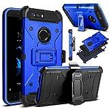 Venoro ZTE Blade Z Max Case, ZTE ZMax Pro 2 Case, ZTE Sequoia Case, Heavy Duty Armor Shockproof Rugged Protection Case Cover with Belt Swivel Clip and Kickstand Compatible ZTE Z982 (Blue)