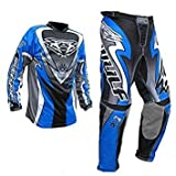 Wulfsport Attack Kids Motocross Jersey With Trouser Motorcycle Quad Bike Cub Shirts and Pants 2 Piece Race Suits New 2017 (Blue, 11-13 Years)