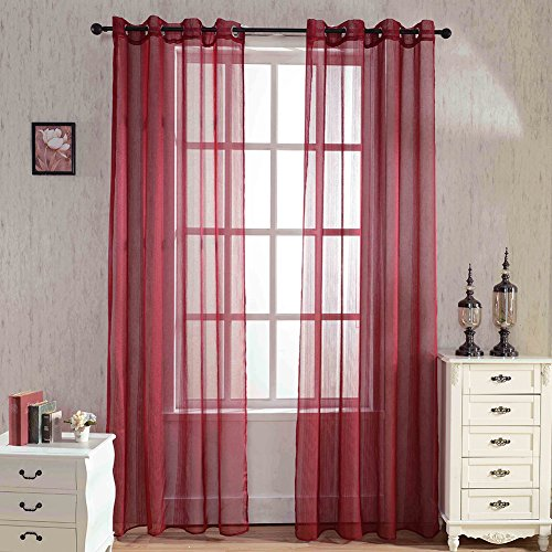 TOPCHANCES 54 inch x 84 inch Solid Color Sheer Rod Pocket Curtains Window Voile Panels Shower Curtain Liners for Bedroom Living Room (Red)