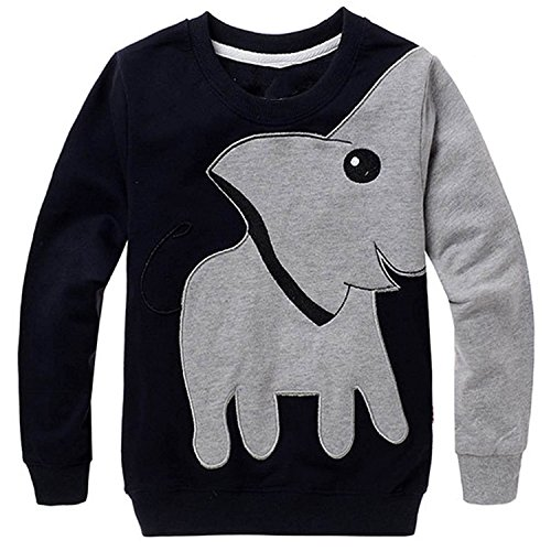 Little Hand Boys Elephant Sport Tee Shirts Toddler Long Sleeve Jumpers Pullover Sweatshirts For Kids