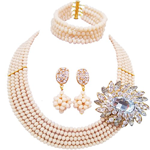 laanc Fashion Lady Jewellery 5 Rows MultiColor Crystal Nigerian Bridel Wedding African Bead Jewelry Sets (Beige)