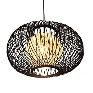 60W Comtemporary Wood Pendant Light Round Design