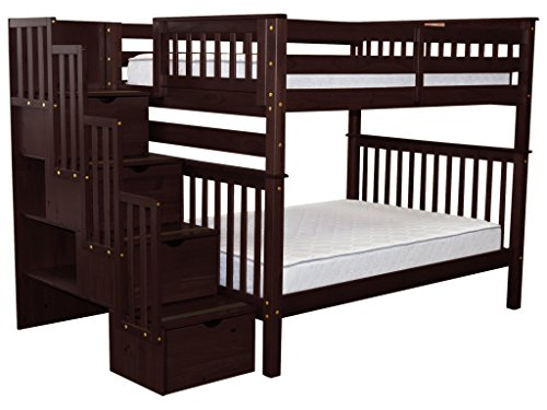 Cheap Bedz King Stairway Bunk Beds Full over Full with 4 Drawers in the Steps, Cappuccino
