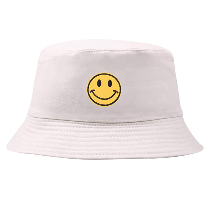 6e881259a Floralby Smiley Face Embroidered Bucket Hat Men Women Foldable Sun ...